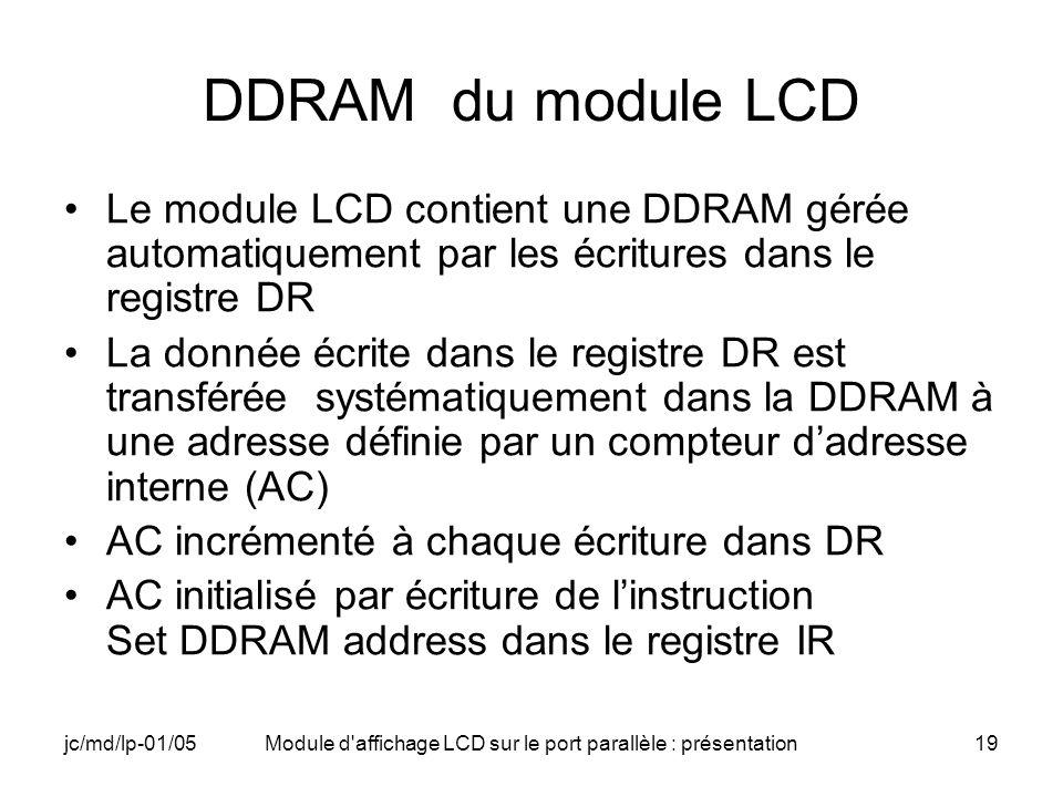 jc/md/lp-01/05Module d'affichage LCD sur le port parallèle : présentation19 DDRAM du module LCD Le module LCD contient une DDRAM gérée automatiquement