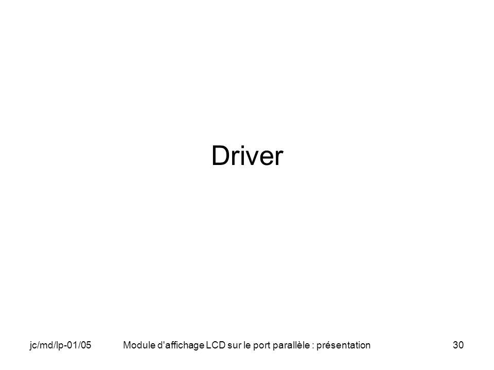 jc/md/lp-01/05Module d'affichage LCD sur le port parallèle : présentation30 Driver