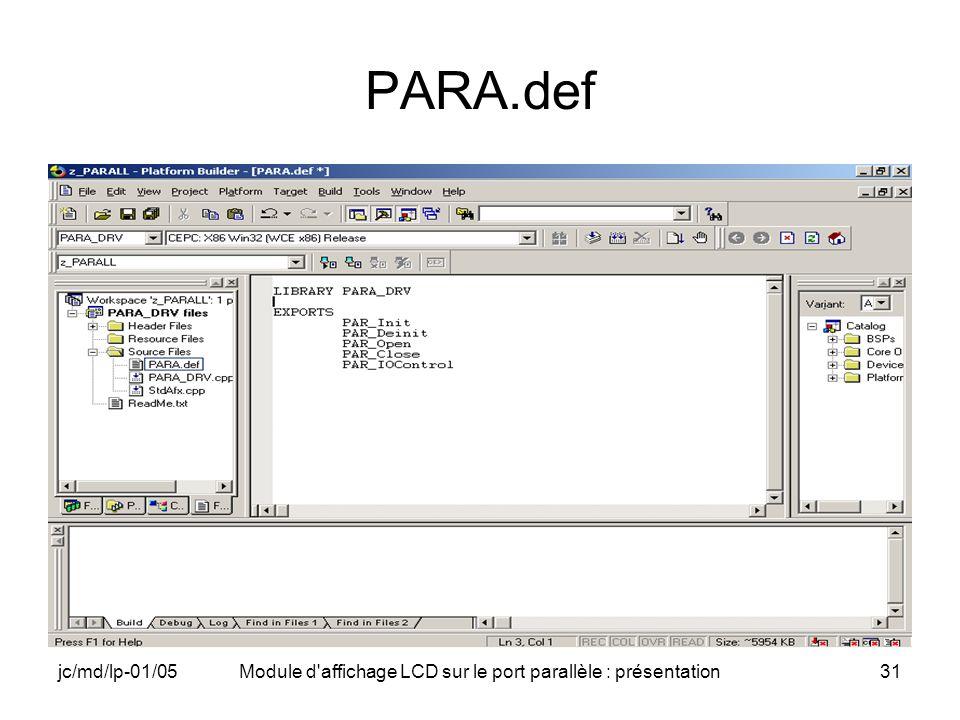jc/md/lp-01/05Module d'affichage LCD sur le port parallèle : présentation31 PARA.def