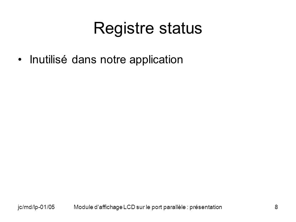 jc/md/lp-01/05Module d'affichage LCD sur le port parallèle : présentation8 Registre status Inutilisé dans notre application