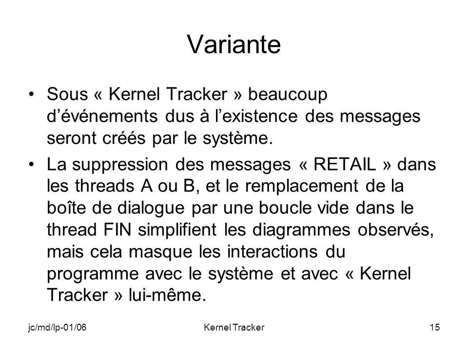 jc/md/lp-01/06Kernel Tracker15 Variante Sous « Kernel Tracker » beaucoup dévénements dus à lexistence des messages seront créés par le système.