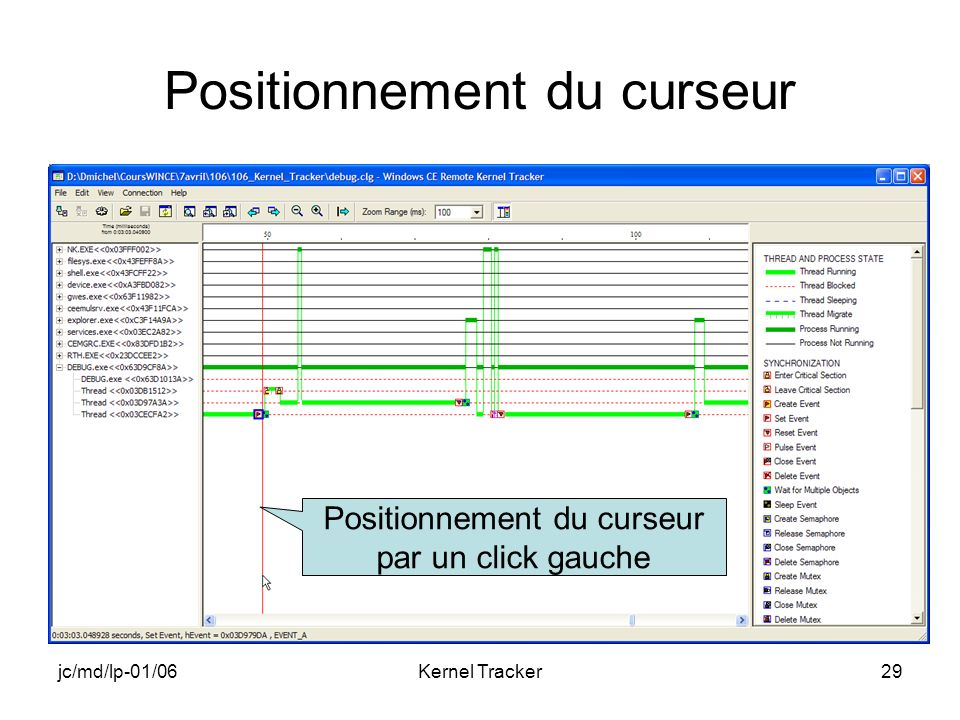 jc/md/lp-01/06Kernel Tracker29 Positionnement du curseur Positionnement du curseur par un click gauche