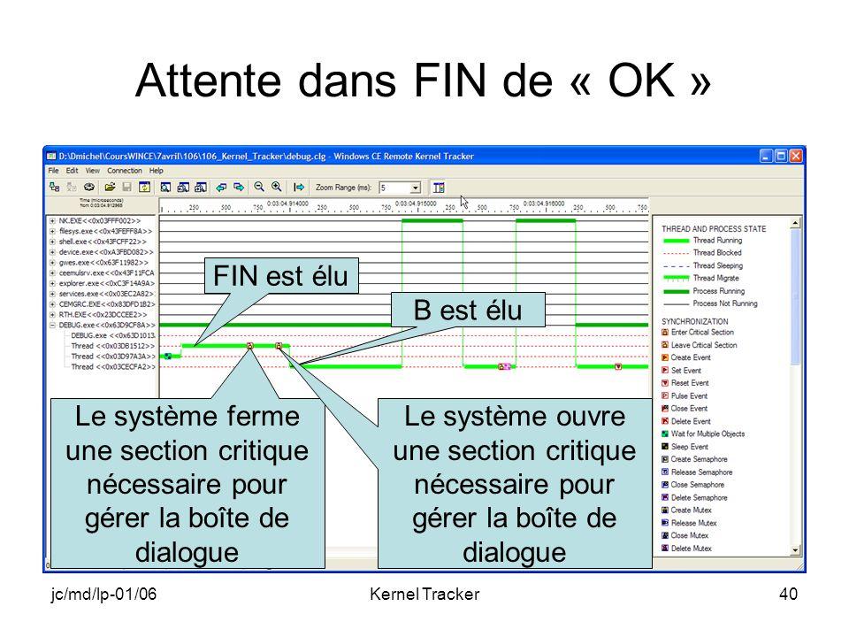 jc/md/lp-01/06Kernel Tracker40 Attente dans FIN de « OK » FIN est élu Le système ferme une section critique nécessaire pour gérer la boîte de dialogue B est élu Le système ouvre une section critique nécessaire pour gérer la boîte de dialogue