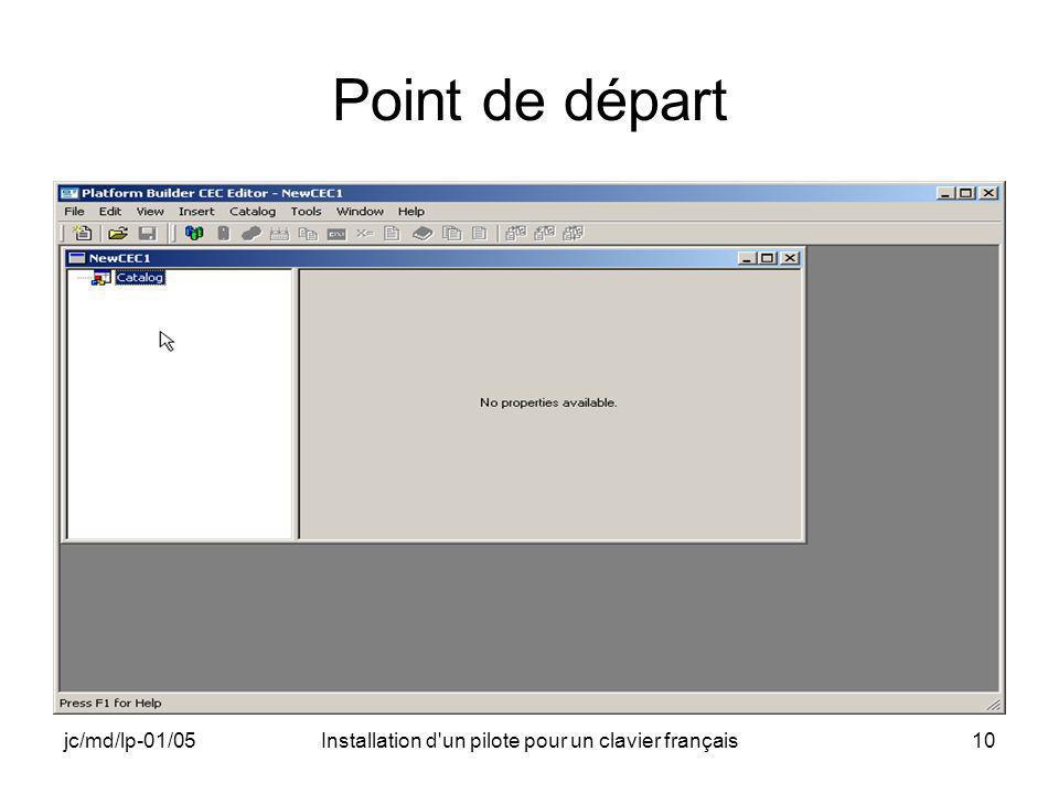 jc/md/lp-01/05Installation d un pilote pour un clavier français10 Point de départ