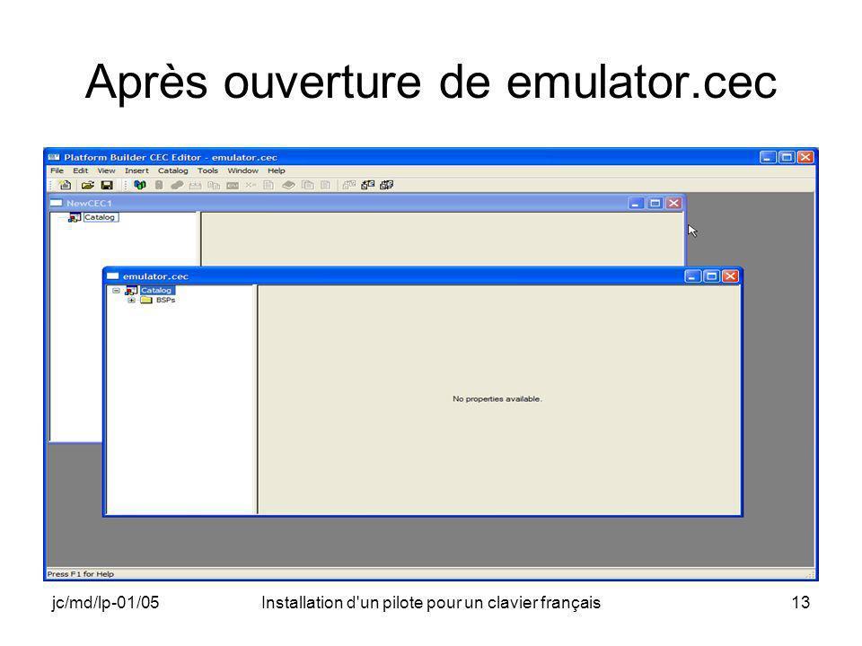 jc/md/lp-01/05Installation d un pilote pour un clavier français13 Après ouverture de emulator.cec