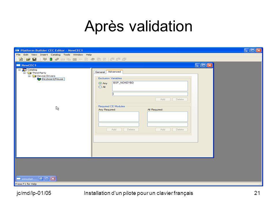 jc/md/lp-01/05Installation d un pilote pour un clavier français21 Après validation