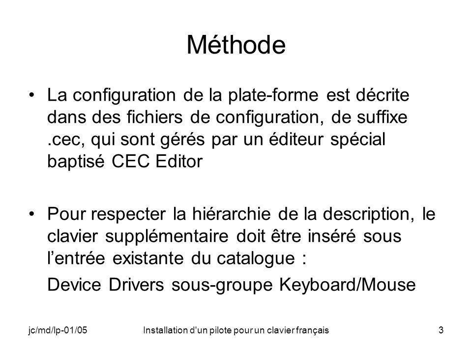 jc/md/lp-01/05Installation d un pilote pour un clavier français3 Méthode La configuration de la plate-forme est décrite dans des fichiers de configuration, de suffixe.cec, qui sont gérés par un éditeur spécial baptisé CEC Editor Pour respecter la hiérarchie de la description, le clavier supplémentaire doit être inséré sous lentrée existante du catalogue : Device Drivers sous-groupe Keyboard/Mouse