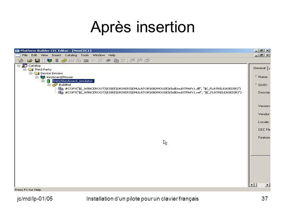 jc/md/lp-01/05Installation d un pilote pour un clavier français37 Après insertion