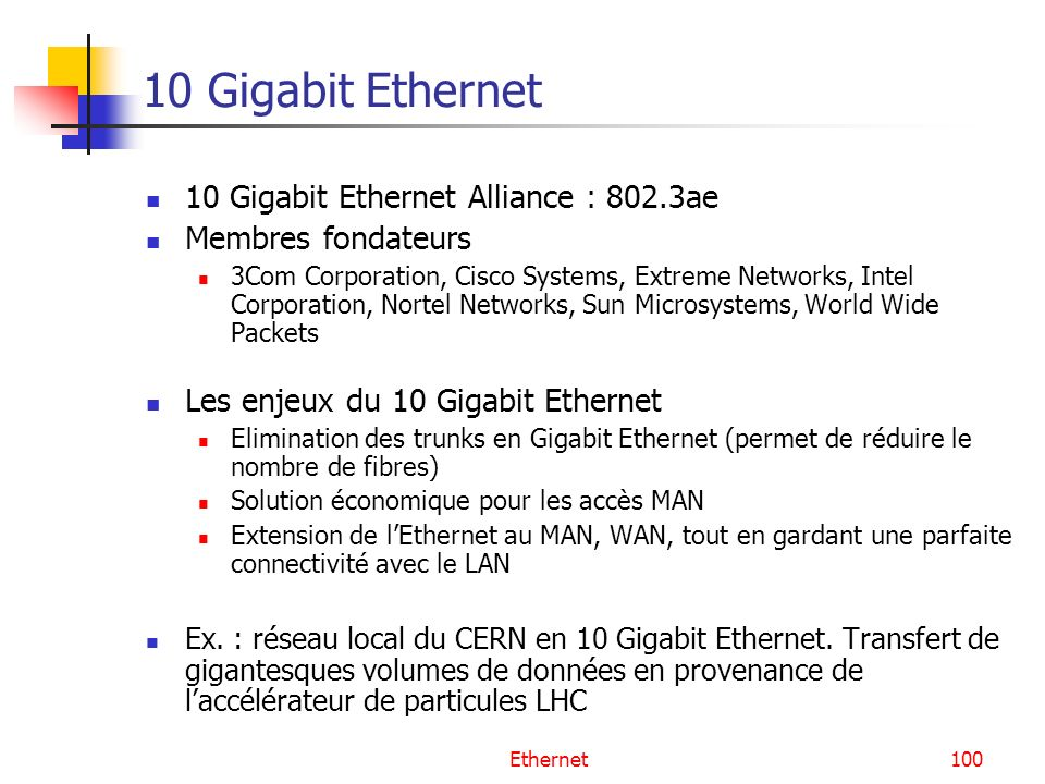 100 10 Gigabit Ethernet 10 Gigabit Ethernet Alliance : 802.3ae Membres fondateurs 3Com Corporation, Cisco Systems, Extreme Networks, Intel Corporation