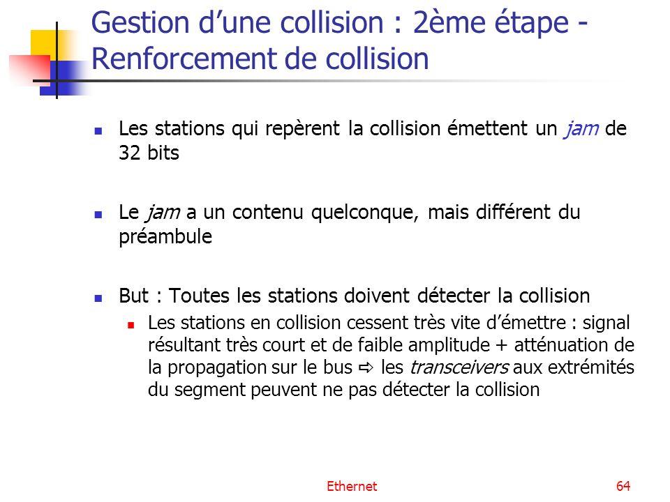 Ethernet64 Gestion dune collision : 2ème étape - Renforcement de collision Les stations qui repèrent la collision émettent un jam de 32 bits Le jam a un contenu quelconque, mais différent du préambule But : Toutes les stations doivent détecter la collision Les stations en collision cessent très vite démettre : signal résultant très court et de faible amplitude + atténuation de la propagation sur le bus les transceivers aux extrémités du segment peuvent ne pas détecter la collision