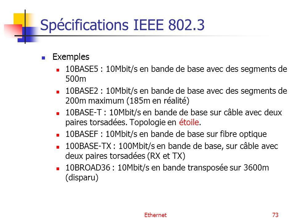 Ethernet73 Spécifications IEEE 802.3 Exemples 10BASE5 : 10Mbit/s en bande de base avec des segments de 500m 10BASE2 : 10Mbit/s en bande de base avec des segments de 200m maximum (185m en réalité) 10BASE-T : 10Mbit/s en bande de base sur câble avec deux paires torsadées.