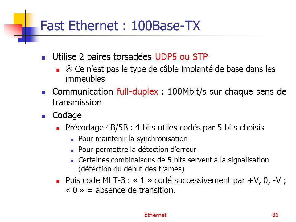 Ethernet86 Fast Ethernet : 100Base-TX Utilise 2 paires torsadées UDP5 ou STP Ce nest pas le type de câble implanté de base dans les immeubles Communication full-duplex : 100Mbit/s sur chaque sens de transmission Codage Précodage 4B/5B : 4 bits utiles codés par 5 bits choisis Pour maintenir la synchronisation Pour permettre la détection derreur Certaines combinaisons de 5 bits servent à la signalisation (détection du début des trames) Puis code MLT-3 : « 1 » codé successivement par +V, 0, -V ; « 0 » = absence de transition.