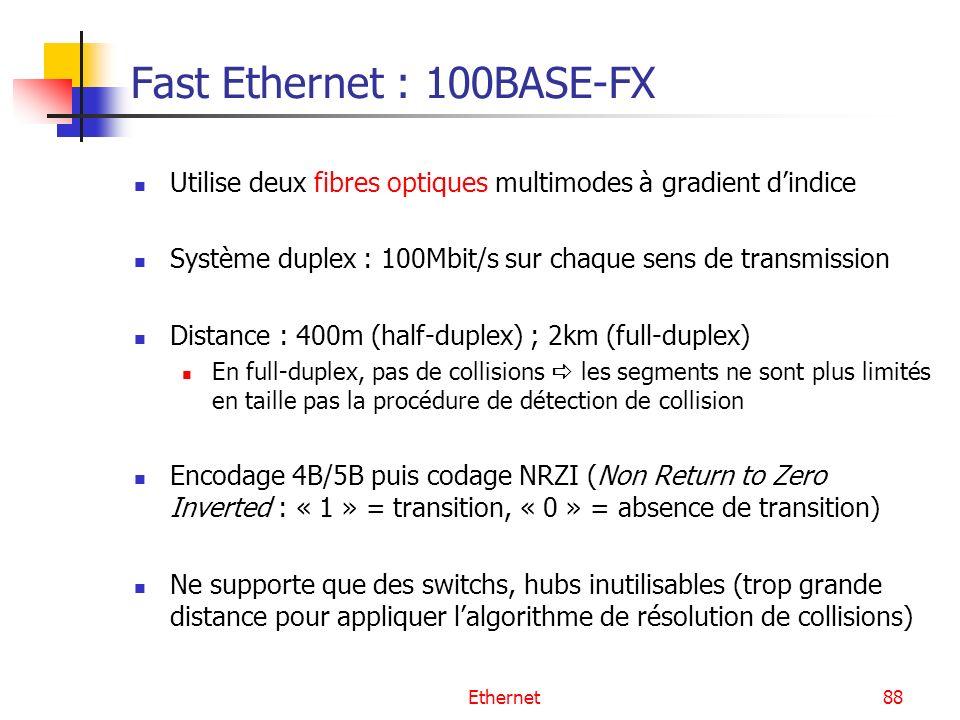Ethernet88 Fast Ethernet : 100BASE-FX Utilise deux fibres optiques multimodes à gradient dindice Système duplex : 100Mbit/s sur chaque sens de transmission Distance : 400m (half-duplex) ; 2km (full-duplex) En full-duplex, pas de collisions les segments ne sont plus limités en taille pas la procédure de détection de collision Encodage 4B/5B puis codage NRZI (Non Return to Zero Inverted : « 1 » = transition, « 0 » = absence de transition) Ne supporte que des switchs, hubs inutilisables (trop grande distance pour appliquer lalgorithme de résolution de collisions)