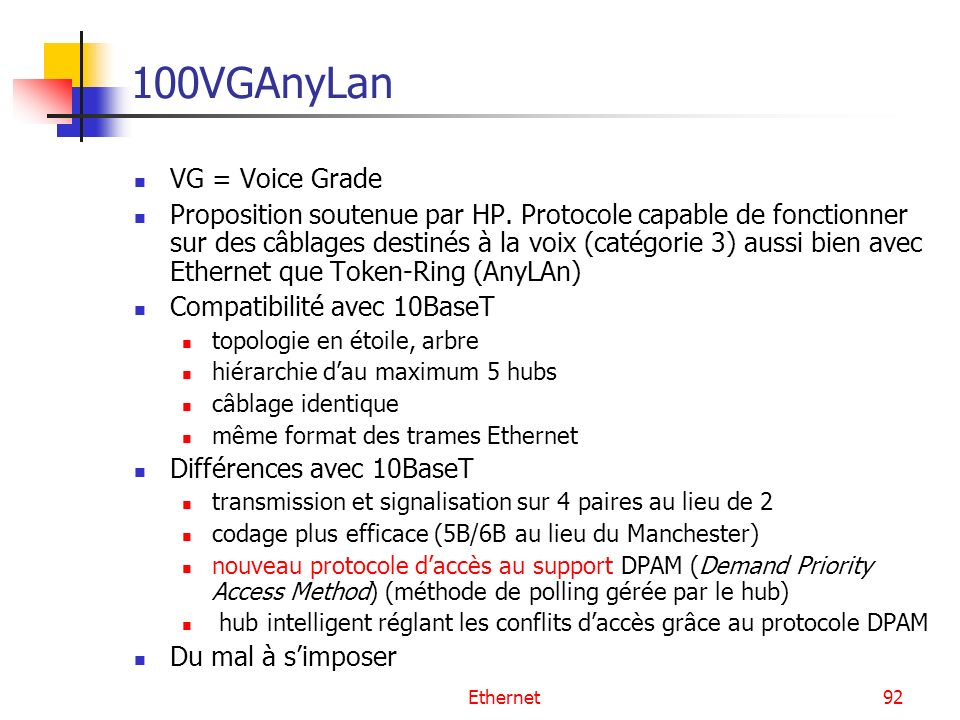 Ethernet92 100VGAnyLan VG = Voice Grade Proposition soutenue par HP. Protocole capable de fonctionner sur des câblages destinés à la voix (catégorie 3