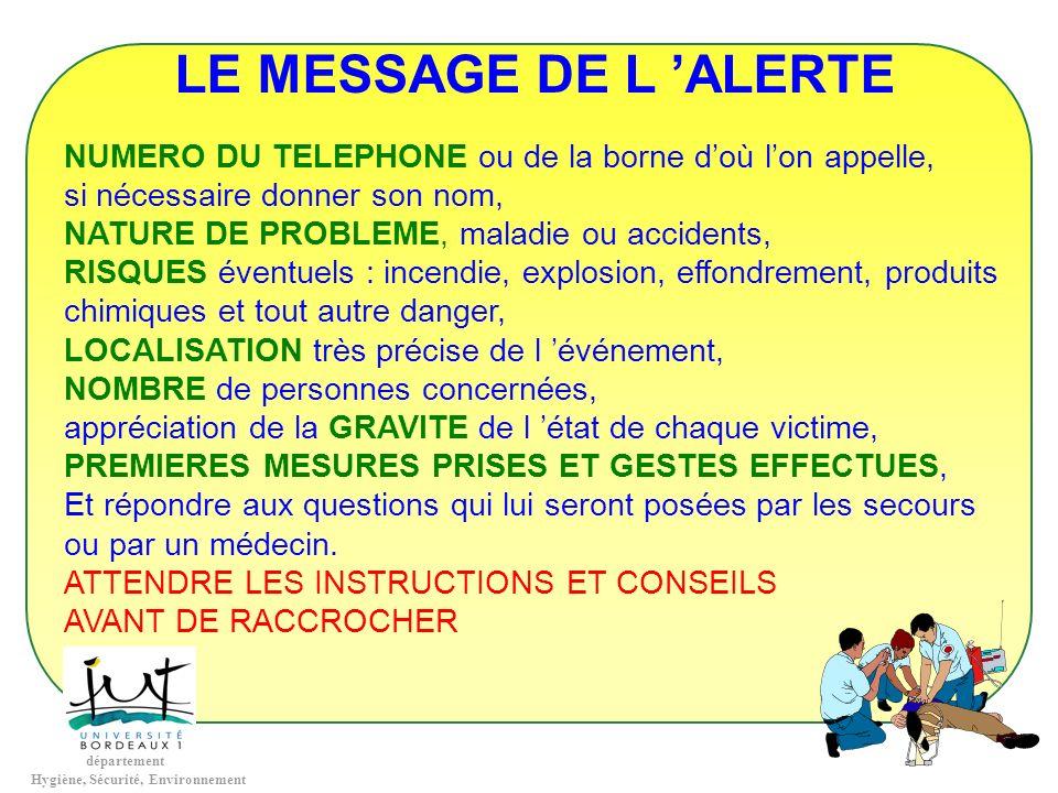 département Hygiène, Sécurité, Environnement LE MESSAGE DE L ALERTE NUMERO DU TELEPHONE ou de la borne doù lon appelle, si nécessaire donner son nom,