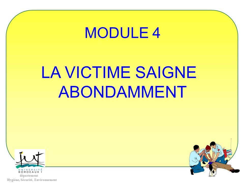 département Hygiène, Sécurité, Environnement MODULE 4 LA VICTIME SAIGNE ABONDAMMENT