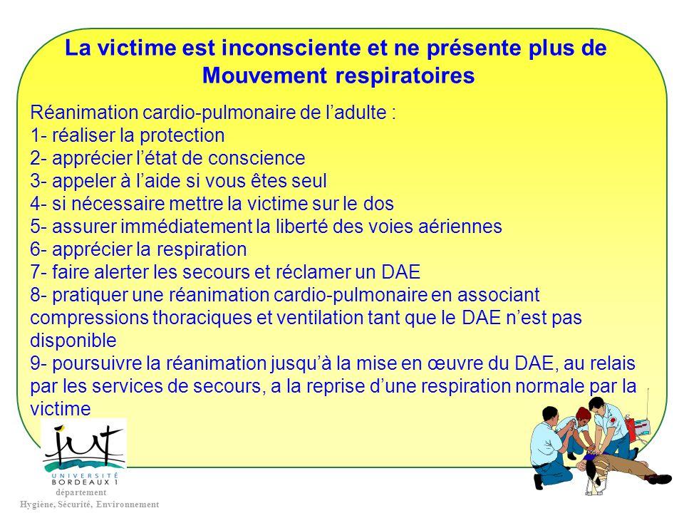 département Hygiène, Sécurité, Environnement La victime est inconsciente et ne présente plus de Mouvement respiratoires Réanimation cardio-pulmonaire