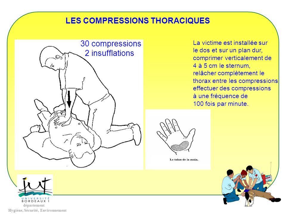 département Hygiène, Sécurité, Environnement LES COMPRESSIONS THORACIQUES 30 compressions 2 insufflations La victime est installée sur le dos et sur u