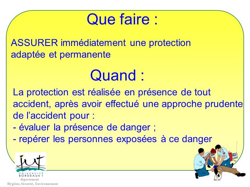 département Hygiène, Sécurité, Environnement Que faire : ASSURER immédiatement une protection adaptée et permanente Quand : La protection est réalisée
