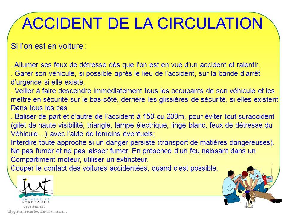 département Hygiène, Sécurité, Environnement ACCIDENT DE LA CIRCULATION Si lon est en voiture :. Allumer ses feux de détresse dès que lon est en vue d