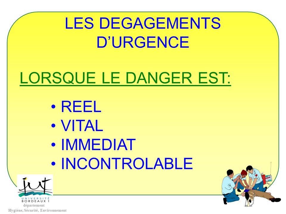 département Hygiène, Sécurité, Environnement LES DEGAGEMENTS DURGENCE LORSQUE LE DANGER EST: REEL VITAL IMMEDIAT INCONTROLABLE