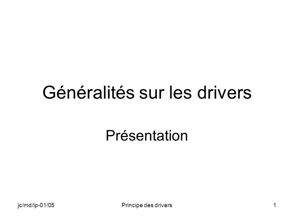 jc/md/lp-01/05Principe des drivers1 Généralités sur les drivers Présentation