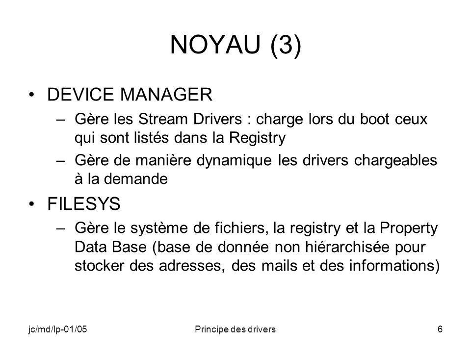 jc/md/lp-01/05Principe des drivers117 Erreur dans RegisterDevice