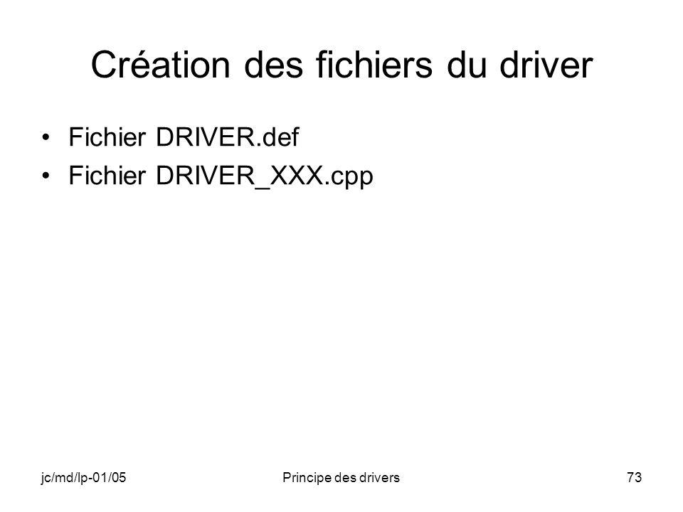 jc/md/lp-01/05Principe des drivers73 Création des fichiers du driver Fichier DRIVER.def Fichier DRIVER_XXX.cpp