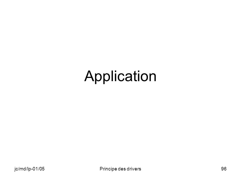 jc/md/lp-01/05Principe des drivers96 Application