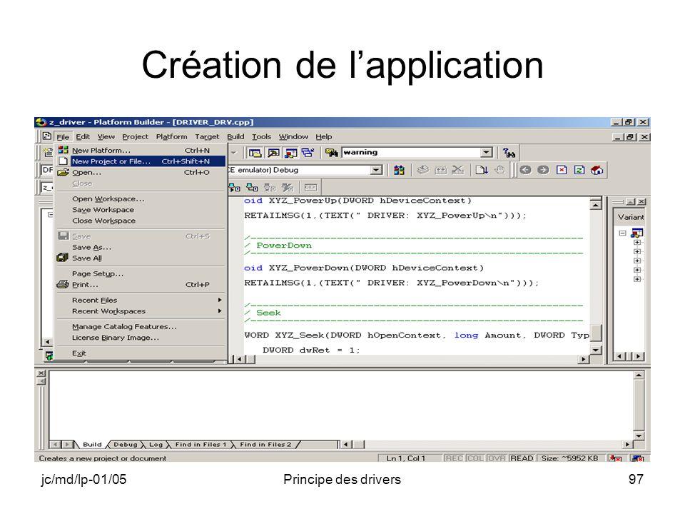 jc/md/lp-01/05Principe des drivers97 Création de lapplication