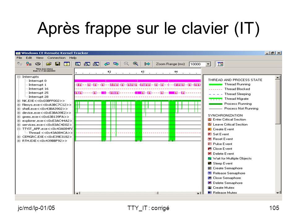 jc/md/lp-01/05TTY_IT : corrigé105 Après frappe sur le clavier (IT)