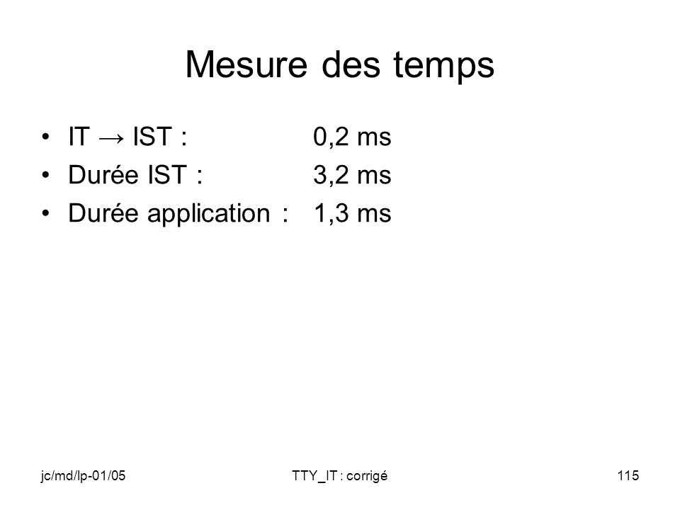 jc/md/lp-01/05TTY_IT : corrigé115 Mesure des temps IT IST :0,2 ms Durée IST :3,2 ms Durée application : 1,3 ms