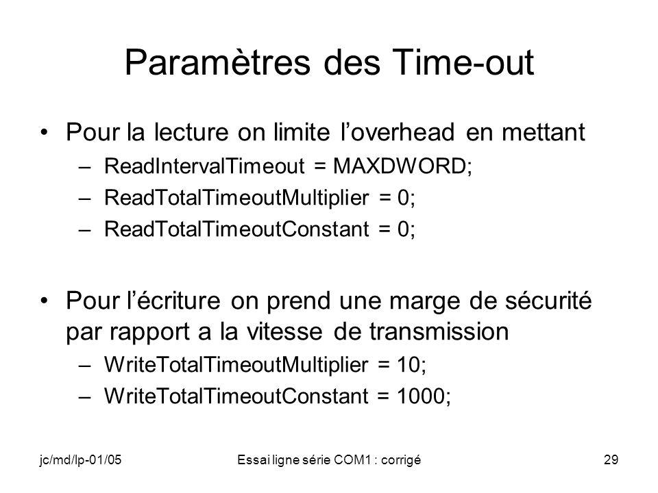 jc/md/lp-01/05Essai ligne série COM1 : corrigé29 Paramètres des Time-out Pour la lecture on limite loverhead en mettant –ReadIntervalTimeout = MAXDWOR