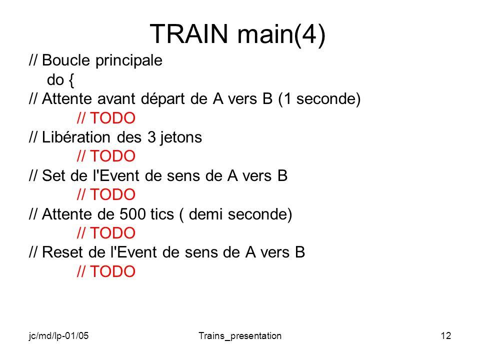 jc/md/lp-01/05Trains_presentation12 TRAIN main(4) // Boucle principale do { // Attente avant départ de A vers B (1 seconde) // TODO // Libération des 3 jetons // TODO // Set de l Event de sens de A vers B // TODO // Attente de 500 tics ( demi seconde) // TODO // Reset de l Event de sens de A vers B // TODO