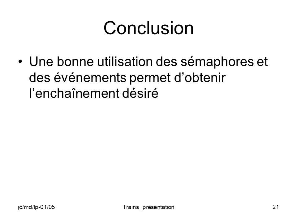 jc/md/lp-01/05Trains_presentation21 Conclusion Une bonne utilisation des sémaphores et des événements permet dobtenir lenchaînement désiré