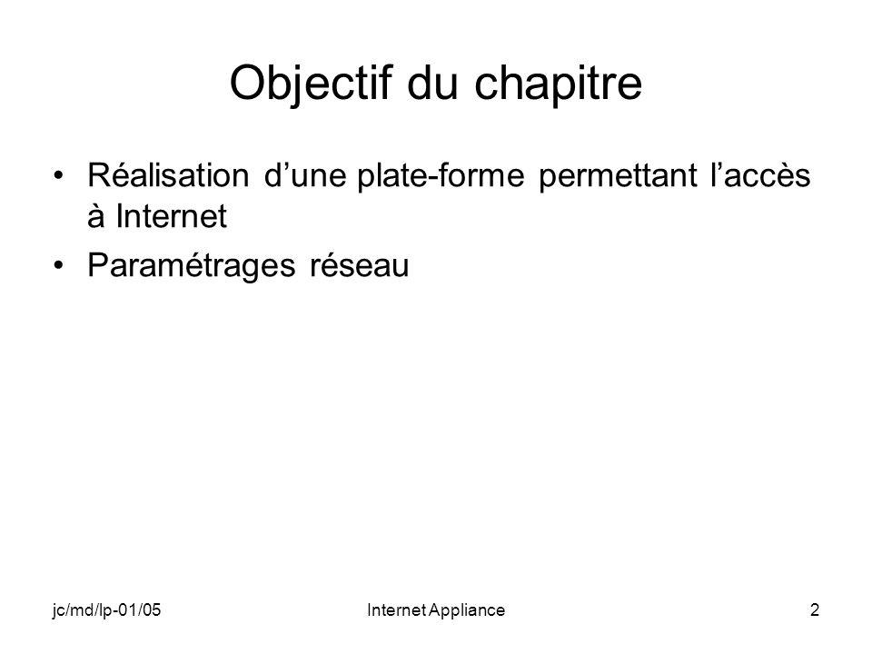 jc/md/lp-01/05Internet Appliance2 Objectif du chapitre Réalisation dune plate-forme permettant laccès à Internet Paramétrages réseau