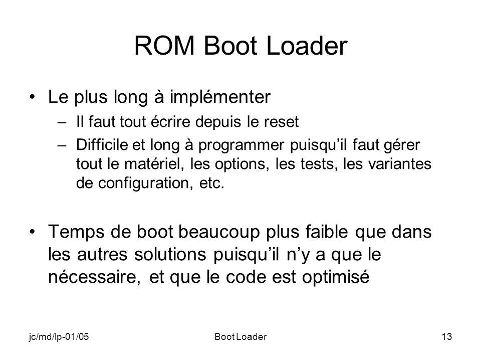 jc/md/lp-01/05Boot Loader13 ROM Boot Loader Le plus long à implémenter –Il faut tout écrire depuis le reset –Difficile et long à programmer puisquil faut gérer tout le matériel, les options, les tests, les variantes de configuration, etc.