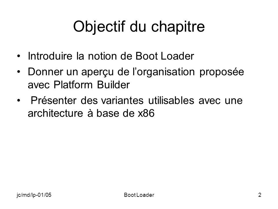 jc/md/lp-01/05Boot Loader2 Objectif du chapitre Introduire la notion de Boot Loader Donner un aperçu de lorganisation proposée avec Platform Builder Présenter des variantes utilisables avec une architecture à base de x86