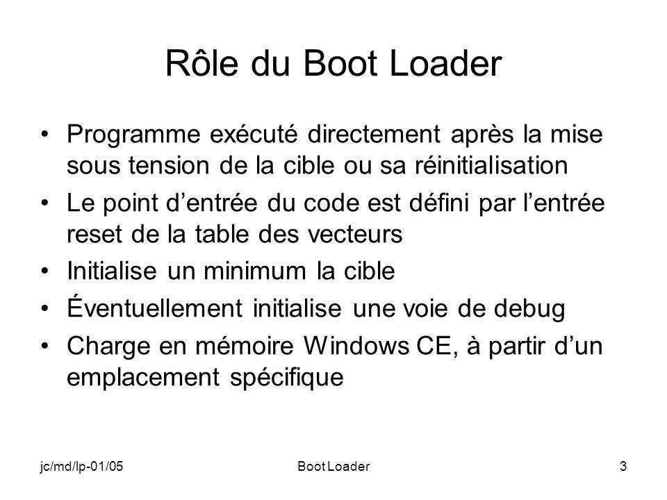 jc/md/lp-01/05Boot Loader3 Rôle du Boot Loader Programme exécuté directement après la mise sous tension de la cible ou sa réinitialisation Le point dentrée du code est défini par lentrée reset de la table des vecteurs Initialise un minimum la cible Éventuellement initialise une voie de debug Charge en mémoire Windows CE, à partir dun emplacement spécifique