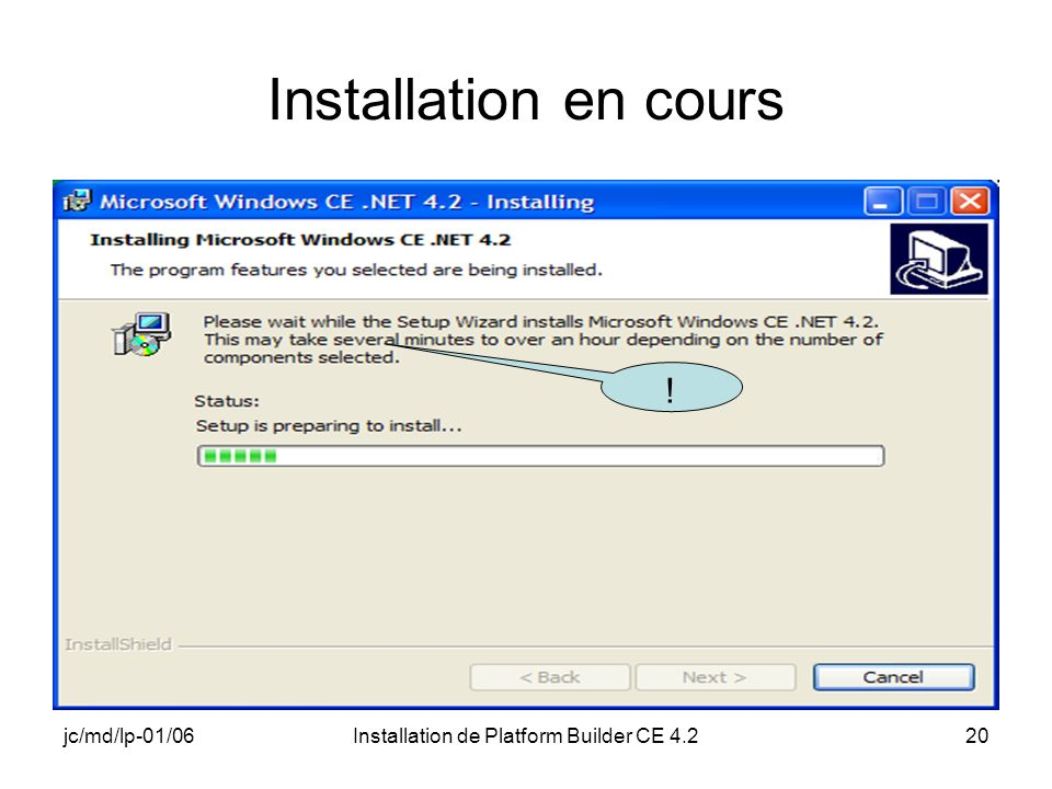 jc/md/lp-01/06Installation de Platform Builder CE 4.220 Installation en cours !