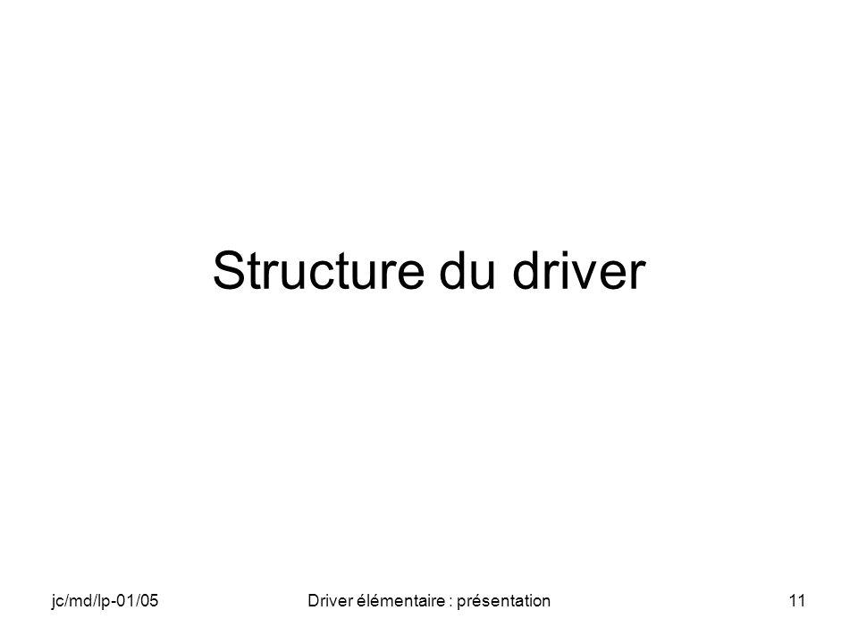 jc/md/lp-01/05Driver élémentaire : présentation11 Structure du driver