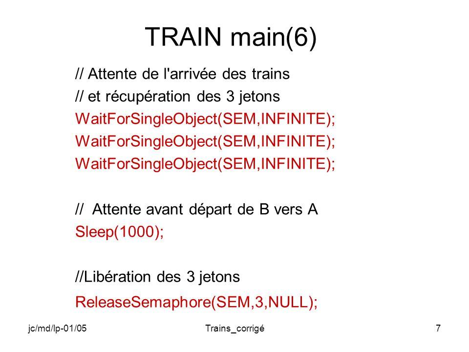 jc/md/lp-01/05Trains_corrigé8 TRAIN main(7) // Set de l Event de sens de B vers A SetEvent(SENS_BA); // Attente de 500 tics Sleep (500); // Reset de l Event de sens de B vers A ResetEvent(SENS_BA); // Attente de l arrivée des trains // et récupération des 3 jetons WaitForSingleObject(SEM,INFINITE);