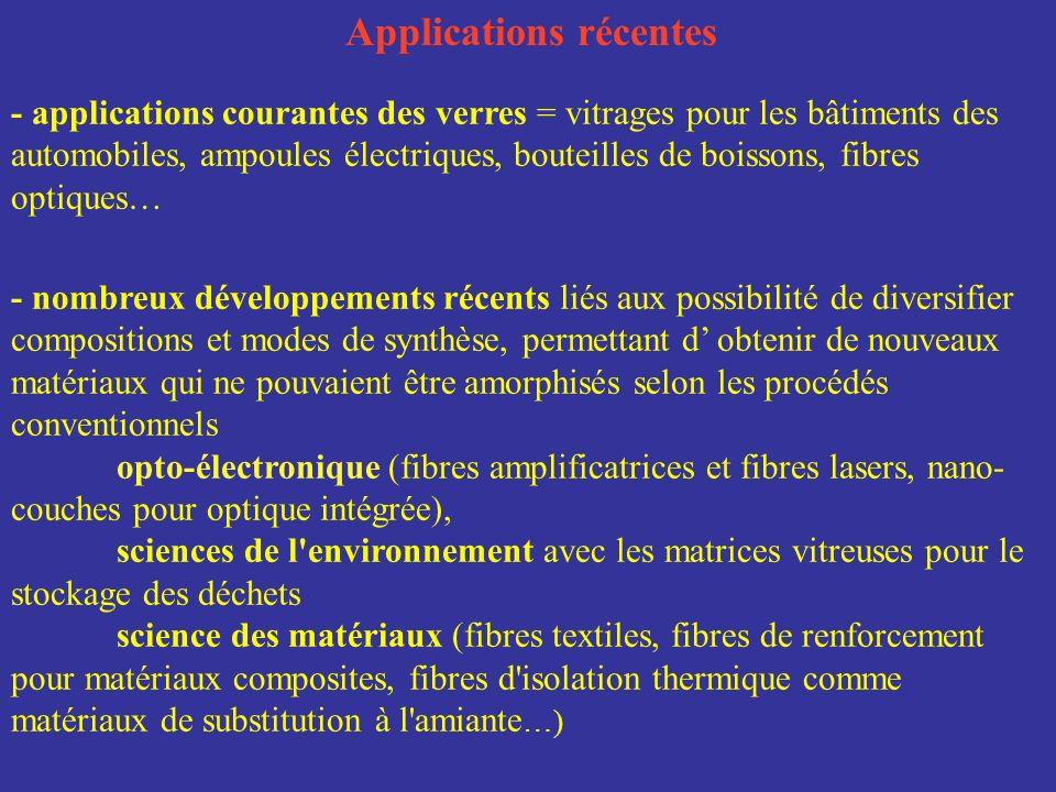 - nombreux développements récents liés aux possibilité de diversifier compositions et modes de synthèse, permettant d obtenir de nouveaux matériaux qu