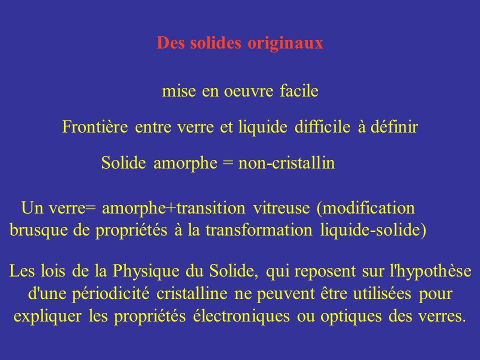 Des solides originaux mise en oeuvre facile Frontière entre verre et liquide difficile à définir Les lois de la Physique du Solide, qui reposent sur l