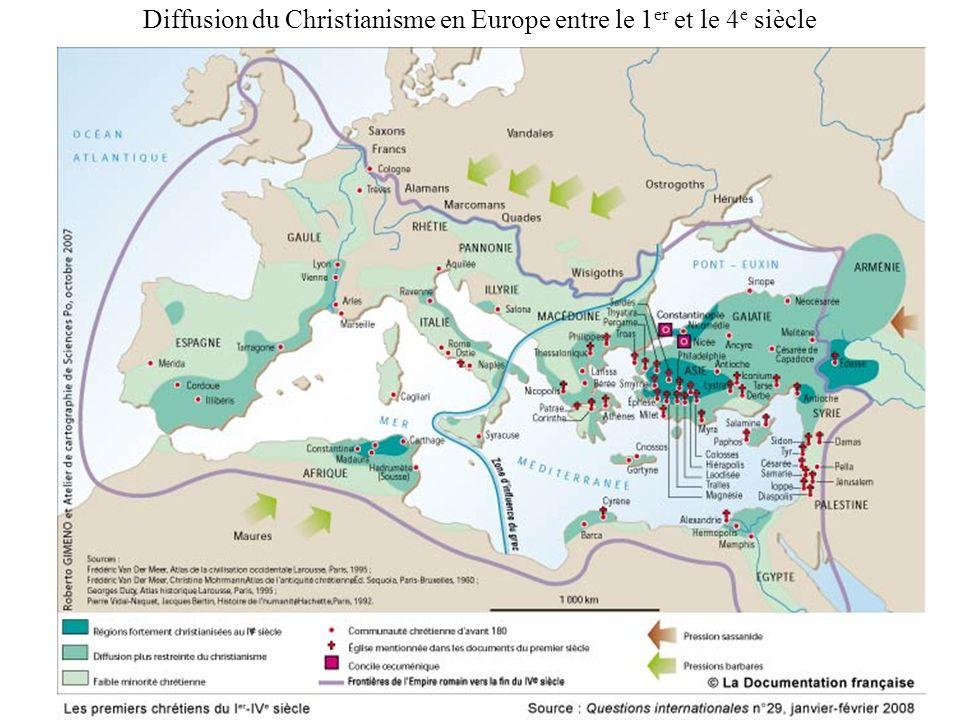 Diffusion du Christianisme en Europe entre le 1 er et le 4 e siècle