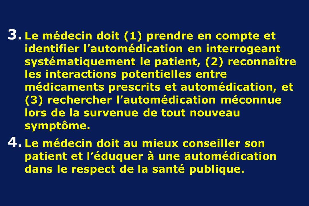 3. Le médecin doit (1) prendre en compte et identifier lautomédication en interrogeant systématiquement le patient, (2) reconnaître les interactions p