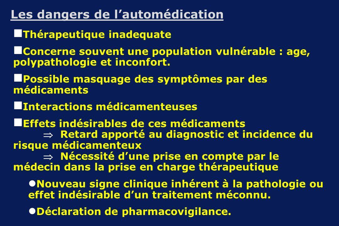 Les dangers de lautomédication Thérapeutique inadequate Concerne souvent une population vulnérable : age, polypathologie et inconfort. Possible masqua