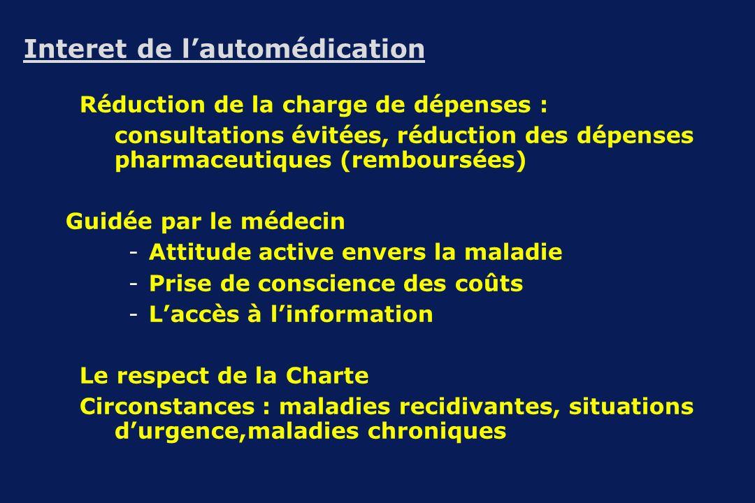 Interet de lautomédication Réduction de la charge de dépenses : consultations évitées, réduction des dépenses pharmaceutiques (remboursées) Guidée par