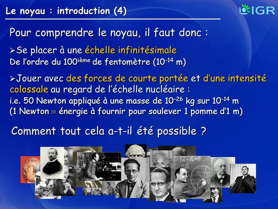 Le noyau : introduction (4) Pour comprendre le noyau, il faut donc : Se placer à une échelle infinitésimale Se placer à une échelle infinitésimale De