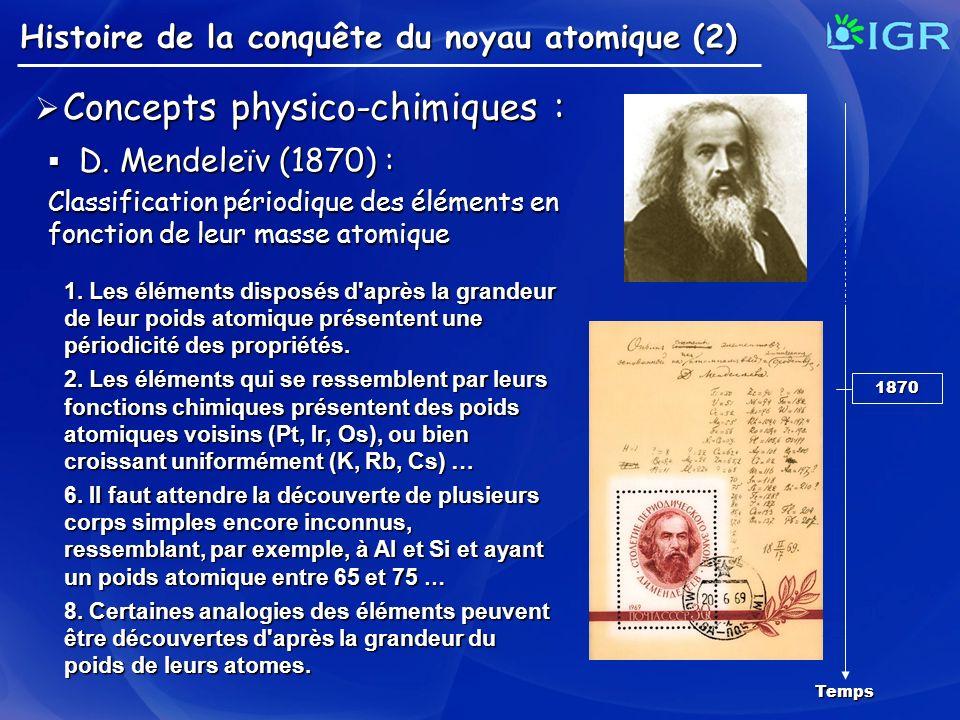 Histoire de la conquête du noyau atomique (2) Concepts physico-chimiques : Concepts physico-chimiques : D. Mendeleïv (1870) : D. Mendeleïv (1870) : Cl